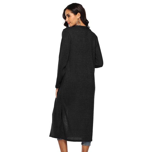 b1788b71f Nuevo otoño Casual mujeres talla grande largo Cardigan abrigo abierto cuello  pico manga larga Slits lado
