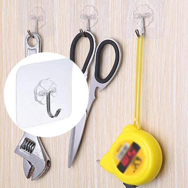 6 PCS Liền Mạch Móc Mạnh Trong Suốt Hút Cup Sucker Tường Móc Treo Punch-miễn phí Chất Kết Dính Mạnh Mẽ Cho Nhà Bếp Phòng Tắm