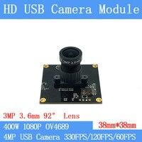 Módulo de câmera 4mp 1080 p 92 ° da câmera do usb do jogo da tomada de alta velocidade uvc 330fps da indústria completa de hd