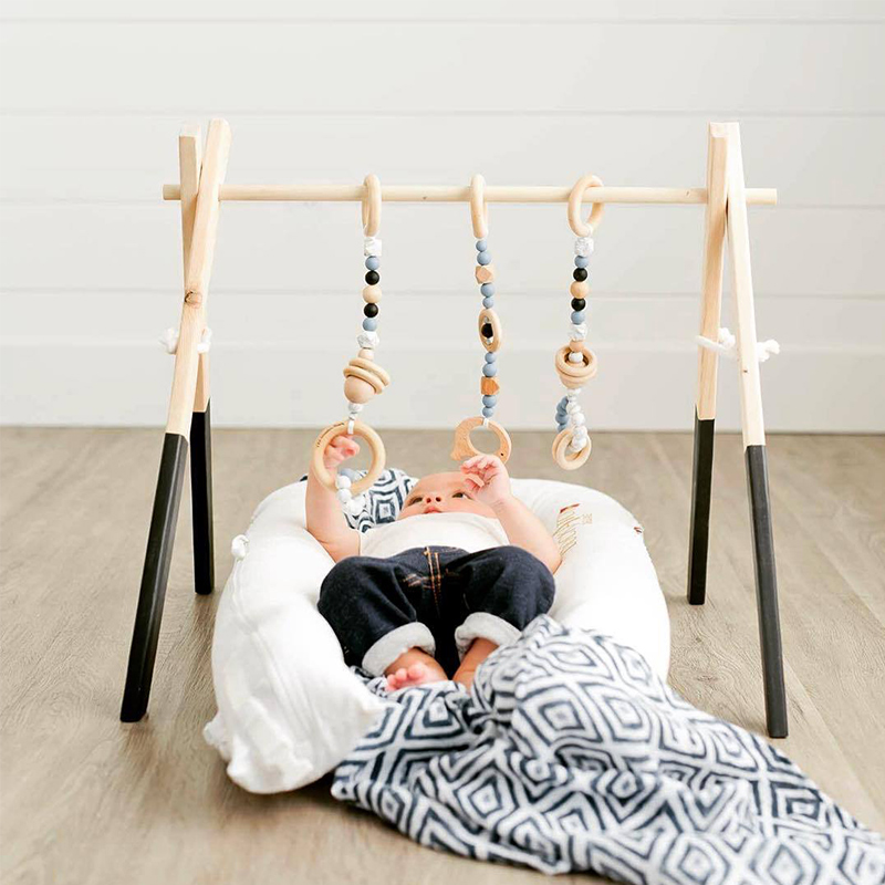 Nordic Baby Activity Gym Frame With Mobiles For Newborns Baby Room Decor Wooden Early Educational Toys Photography Prop