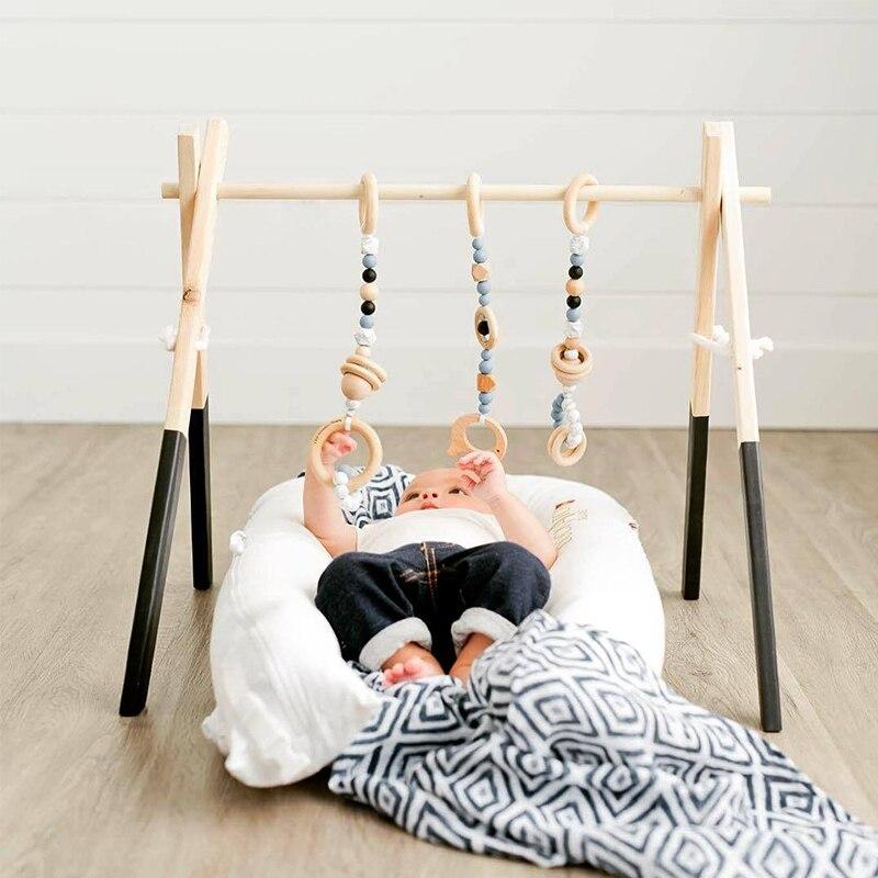 Nordique Bébé Activité Gym Cadre Avec Mobils Pour Les Nouveau-nés Bébé Chambre Décor En Bois Jouets Éducatifs Début Photographie Prop