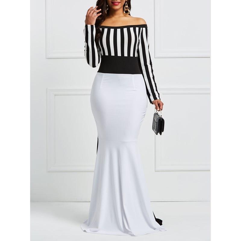 Sisjuly Макси Платье Футляр Элегантный для женщин от Sholuder Длинные рукава в полоску цвет блока Белый Черный Bodycon Русалка Вечерние