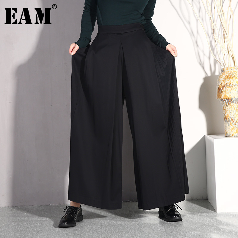 [EAM] 2019 New Spring Summer High Waist Bandage Loose Black Side Pleated Stitch   Wide     Leg     Pants   Women Trousers Fashion JO578