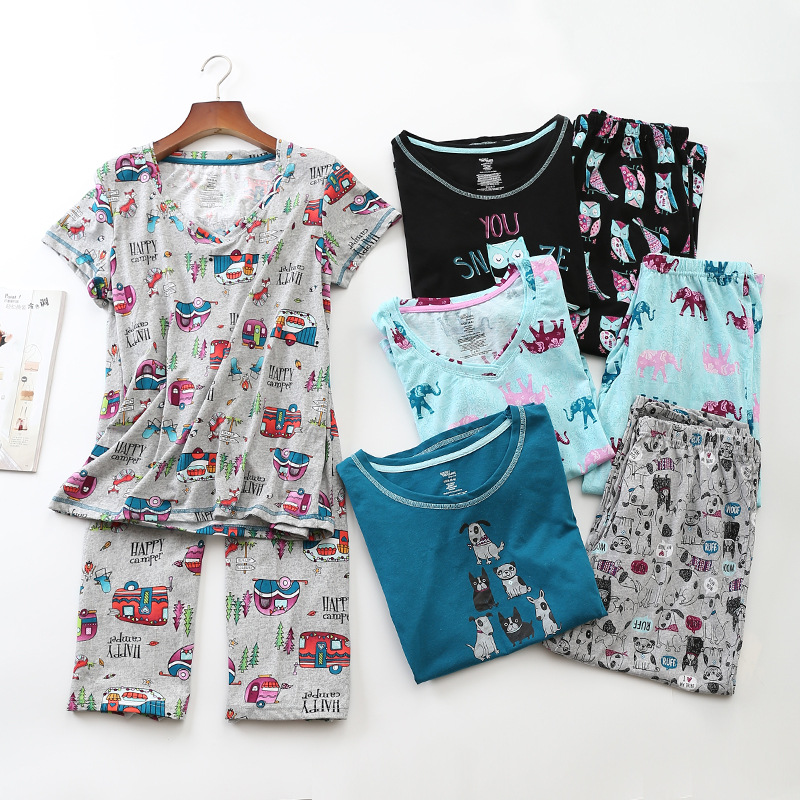 Plus Size Knitted Cotton   Pajama     Set   Summer Short-sleeved Calf-Length Pants Sleepwear Cartoon Pyjamas Women Pijama Mujer 2-piece