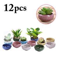 12PCS Ice Crack Ceramic Mini Flower Pots For Juicy Plants Small Bonsai Pot Home and Garden Decor Mini Succulent Plant Pots