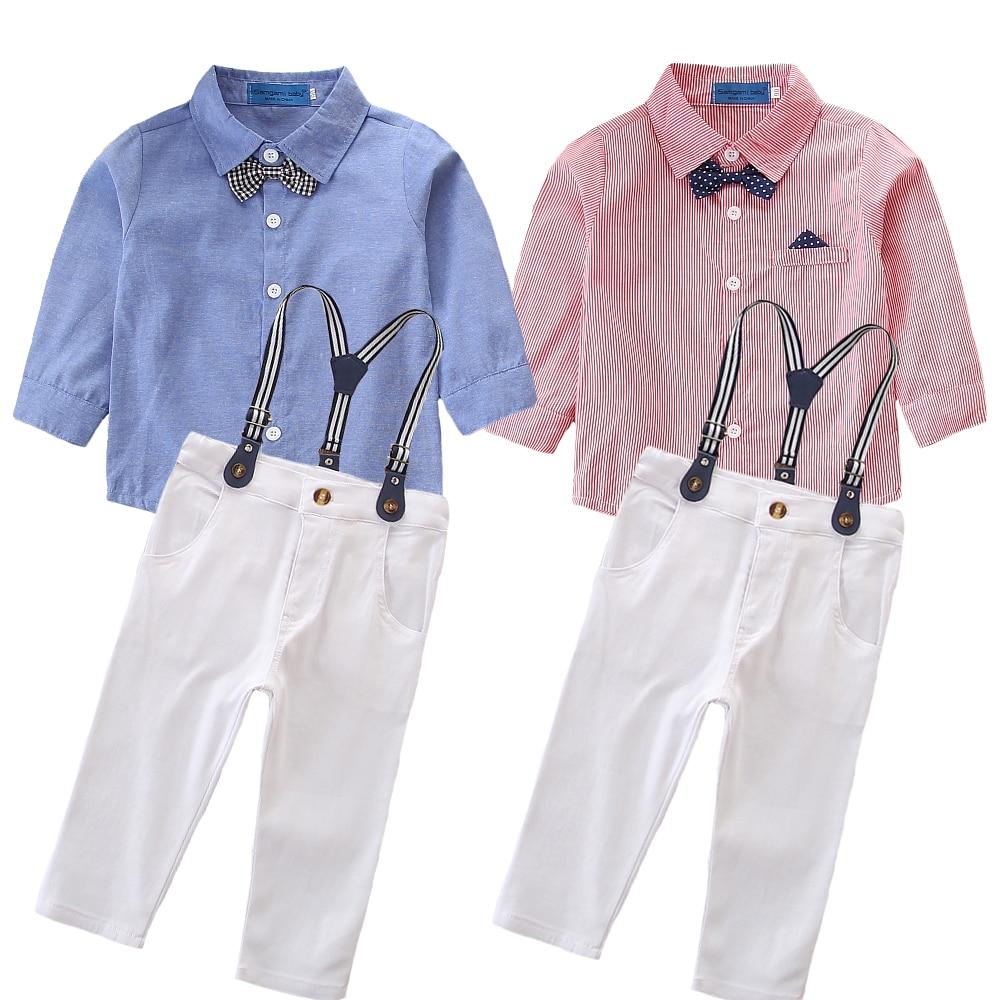 Newborn Toddler Baby Boy Gentleman Formal Pants+Shirt Outfit Clothes Set Suit US