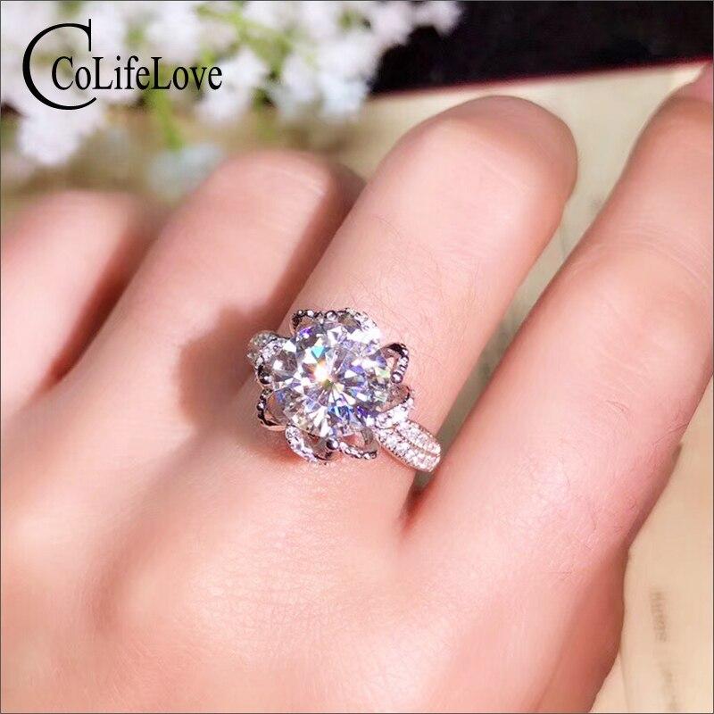 CoLife bijoux 925 argent Moissanite 1ct 2ct 3ct D couleur VVS1 Grade Moissanite bague de mariage pour femme cadeau romantique