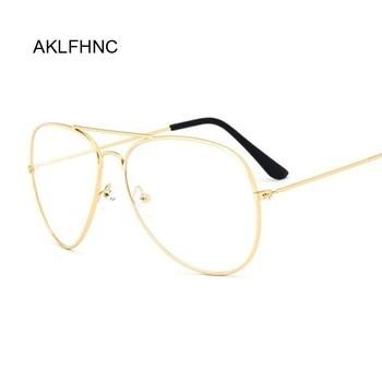 Aviation Gold Frame Sunglasses Male Classic Eyeglasses Transparent Clear Lens Optical Women Men Glas