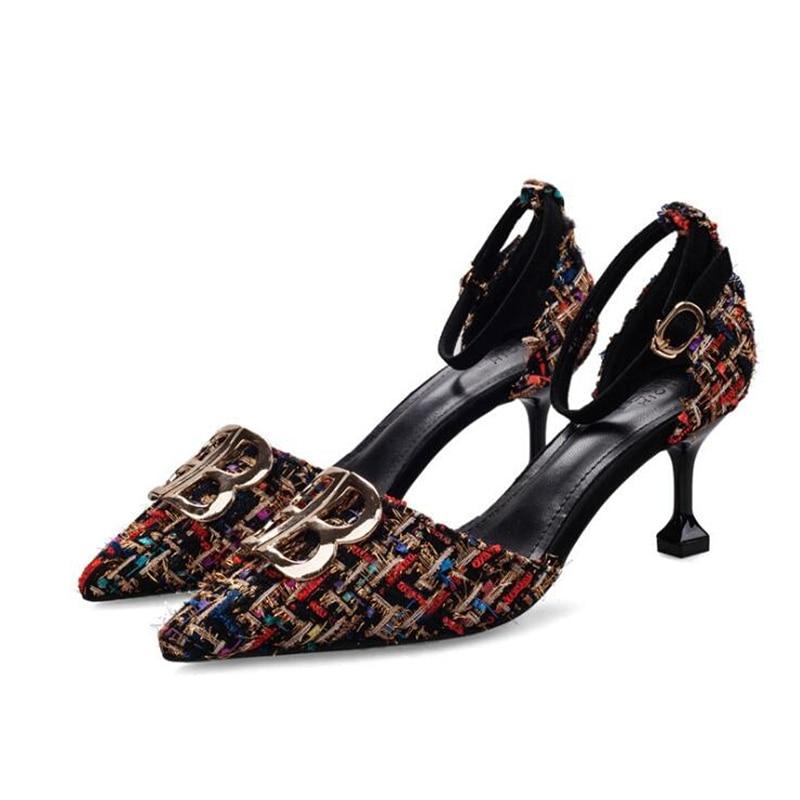 2019 Women Pumps Buckle Strap Stilettos Pointed Toe Thin Heels Women Metal Decor Pumps Shoes Denim Dress Shoes in Women 39 s Pumps from Shoes
