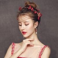 Red Fabric Flower Headband Hair Accessories Simulated Pearl Headpiece Wedding Party Headdress Women Costume Performance Hairband