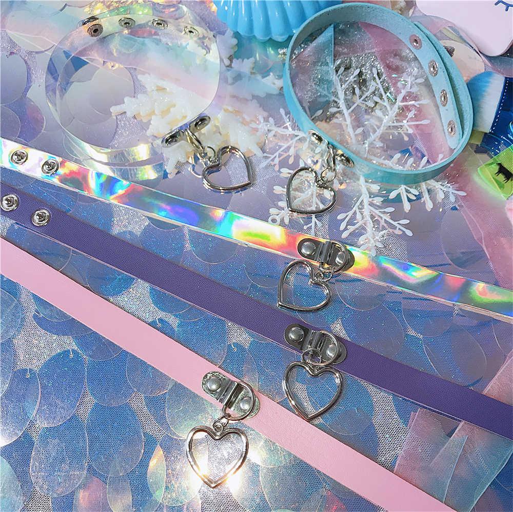 Новый модный сексуальный Харадзюку ручной работы чокер с подвеской в форме сердца лазерный светильник ожерелье панк кожаный воротник чокер ожерелье шипы Torques