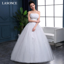 LASONCE Ball Gown Lace Flowers Appliques Wedding Dresses Crystal Strapless Off The Shoulder Backless Bridal Dress