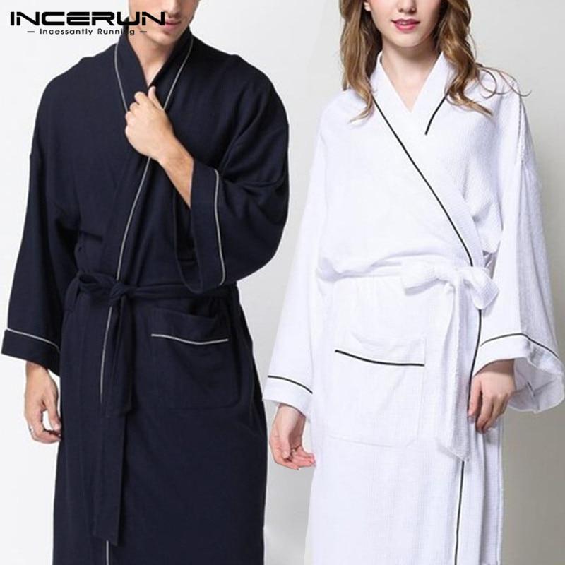 Comfortable Men Robe Gown Long Sleeve Kimono Dressing Male Bathrobes Night Gown Thin Sleepwear Long Bathrobe Hombre Home Clothes