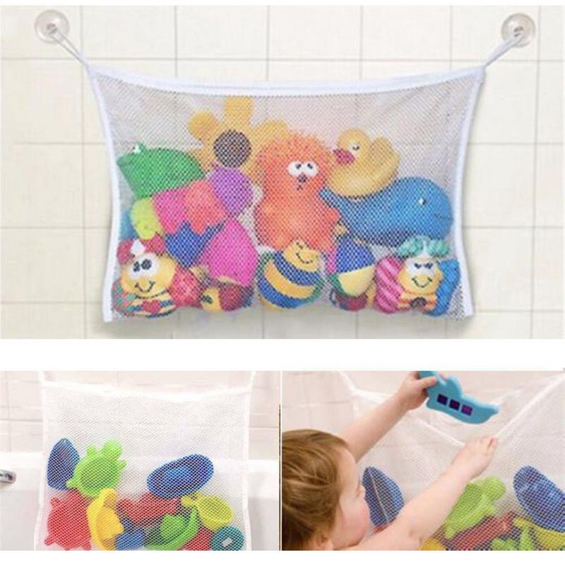 Suction Bathroom Stuff Baby Bath Bathtub Toy Mesh Net Storage Bag Organizer Holder Bathroom Organiser Shower Toy