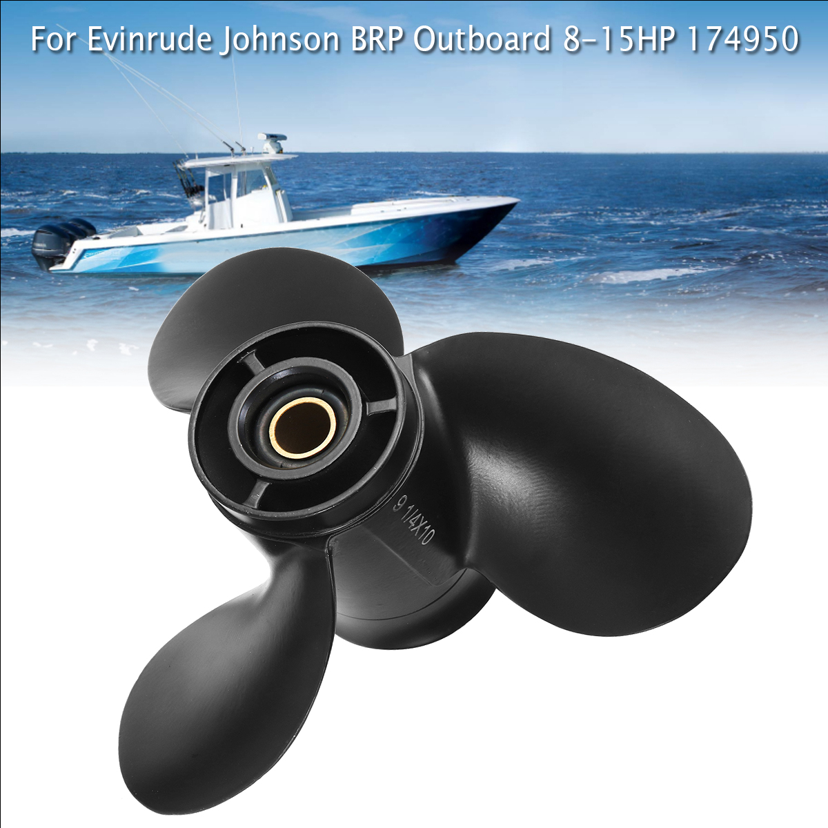 US $31 41 31% OFF|174950 / 778772 For Evinrude Johnson BRP 8 15HP 9 1/4 x  10 Outboard Propeller Aluminum Alloy Black 3 Blades 13 Spline Tooths-in
