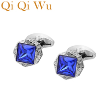 2018 Low-key Luxury Blue Glass Cufflinks for Mens Brand High Quality Square Crystal Shirt Cuff Links Relojes Gemelos