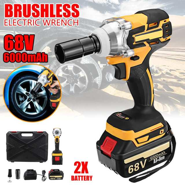 68v 6000mah Rechargeable Battery Brushless Cordless Electric Impact Socket Wrench Car Home Dual Sd Hand Drill Tools