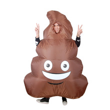 Inflatable Emoji Poop Pile Costume for Adults Smile Face Shit Cosplay Costume Fancy Dress Blow Up Suit Christmas Halloween Party