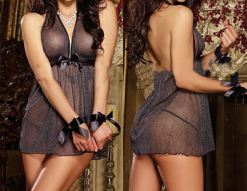 <font><b>Sexy</b></font> <font><b>Lingerie</b></font> Hot 2017 New <font><b>Sexy</b></font> Ladies Nightwear Sex Clothes Erotic Dress Black <font><b>Plus</b></font> <font><b>Size</b></font> New Porn Women Costumes M 3XL SLG547 image