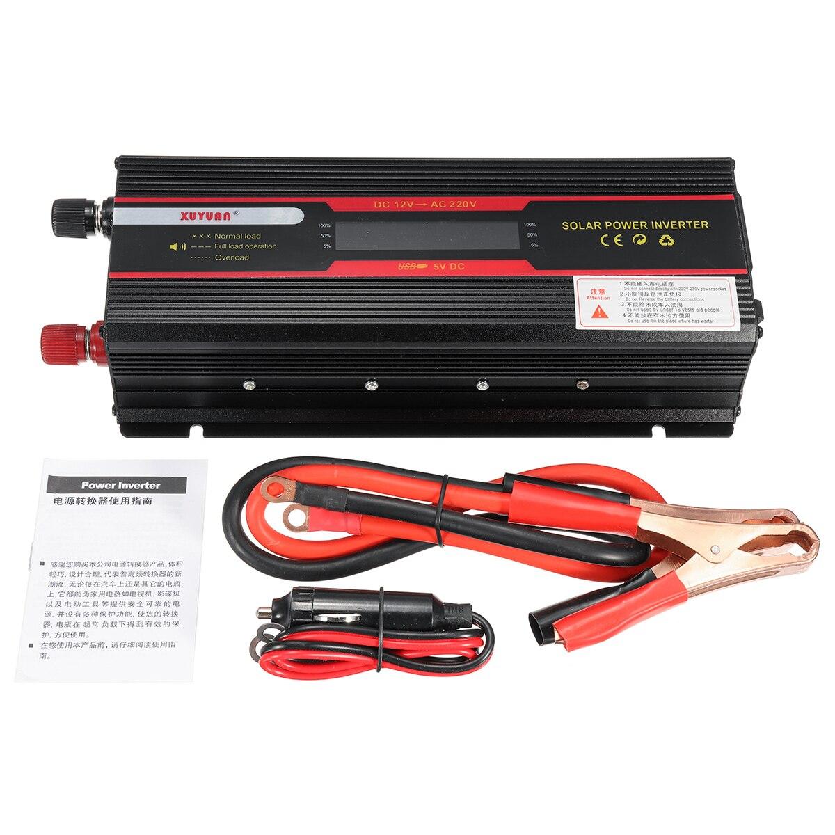 Onduleur de voiture 12 V 220 V 3000 W 4000 W 6000 W P eak onduleur de tension convertisseur transformateur 12 V 220 V Inversor + écran LCD - 6