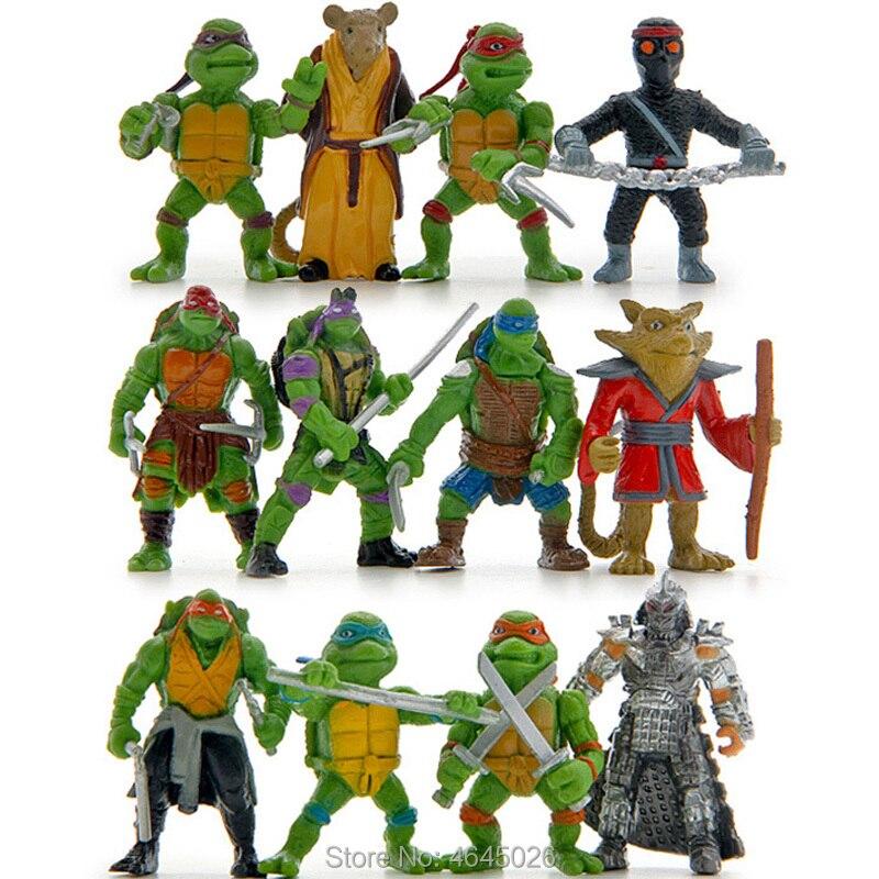 12pcs Turtles Leo Raph Mikey Don Miniature PVC Action Figures Shredder Keyrings Mini Anime Figurines Dolls Kids Toys For Boys