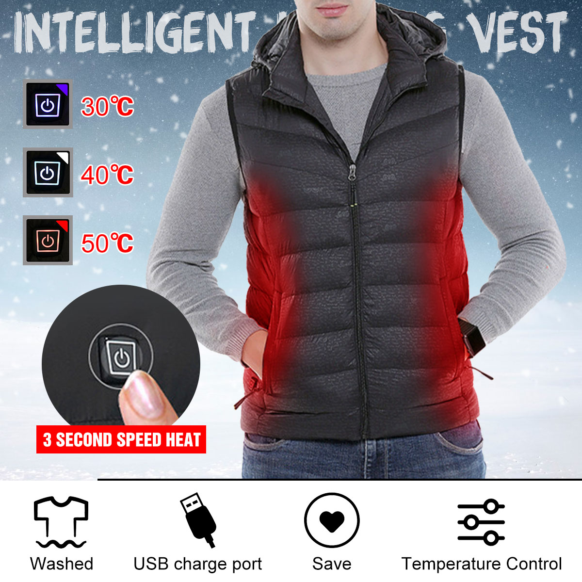 Mens Winter Heated USB Charge 3modes Hooded Work Jacket Coats Vest Adjustable Temperature Control Safety Clothing mens winter heated usb charge hooded work jacket coats vest adjustable temperature control safety clothing