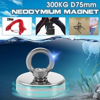 300KG D75mm Strong Salvage Neodymium Magnet Fishing Deap Sea Salvage Recovery Retrieving Treasure Hunting Magnet