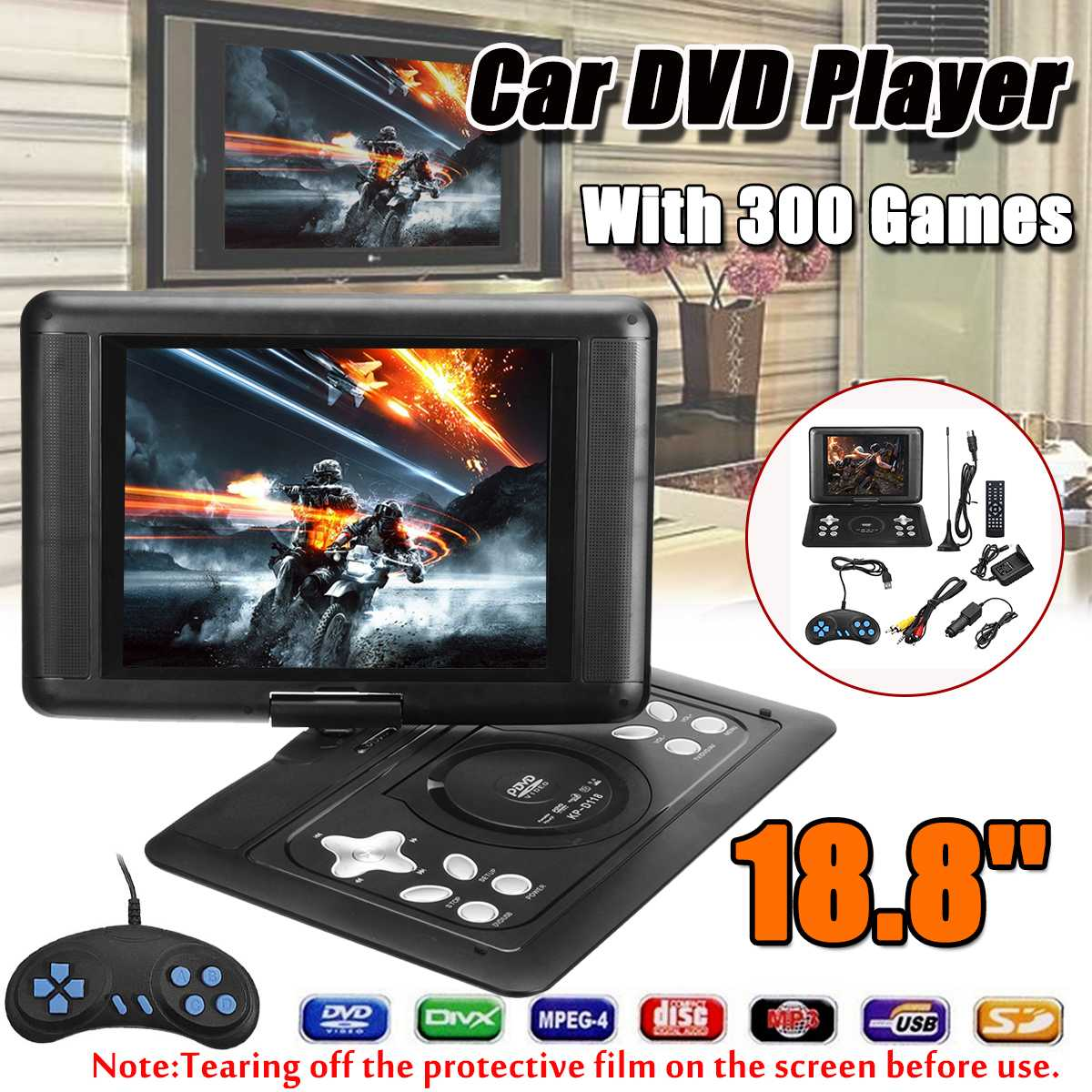 18.8 Inch Home Car Portable HD CD MP3 DVD Player 16:9 LCD Screen Multimedia Player USB SD Support FM TV Game Card Read Portatil