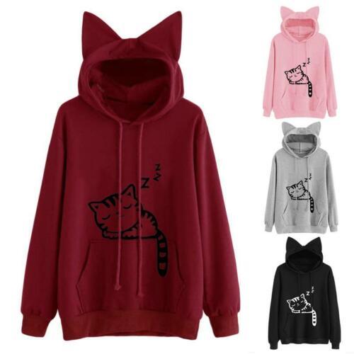 Casual Cute Cat Ear Girls Hoodie Sweatshirt Hooded Coat Tops Long Sleeve Blouse