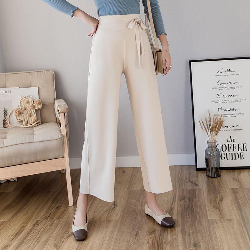 2019 Spring Summer Fashion Women   Pants   Female Casual Loose Solid Elegant Elasitc Waist   Wide     Leg     Pant   Office Lady Comfy Trousers