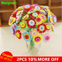 Happyxuan DIY Felt Button Flower Craft Kits Kindergarten Kids Creative Toys Children Educational Handmade Gift Room Decoration(China)