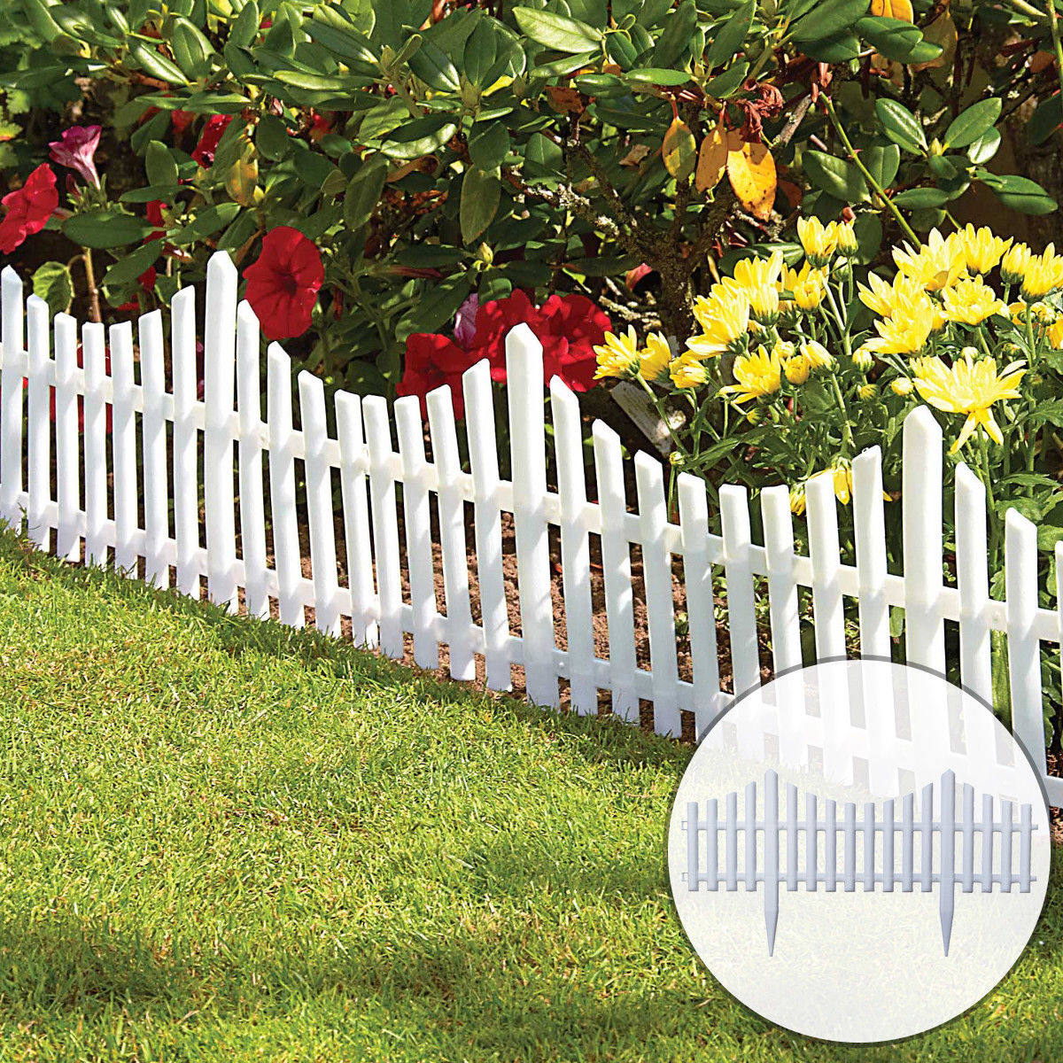 12Pcs Plastic Garden Border Fencing Fence Pannels Outdoor Landscape Decor Edging Yard Easy Install Insert Ground Type 610x330mm
