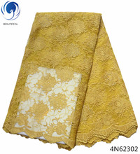 Beautifical yellow lace fabrics nigerian for clothing french laces high quality tulle cheap 4N623