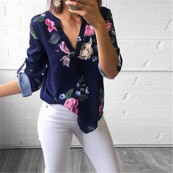 Frauen Damen Blume Blatt drucken Blusen Mode Damen Chic V-ausschnitt Casual Langarm Shirt Tops Bluse blusas mujer de moda 2019