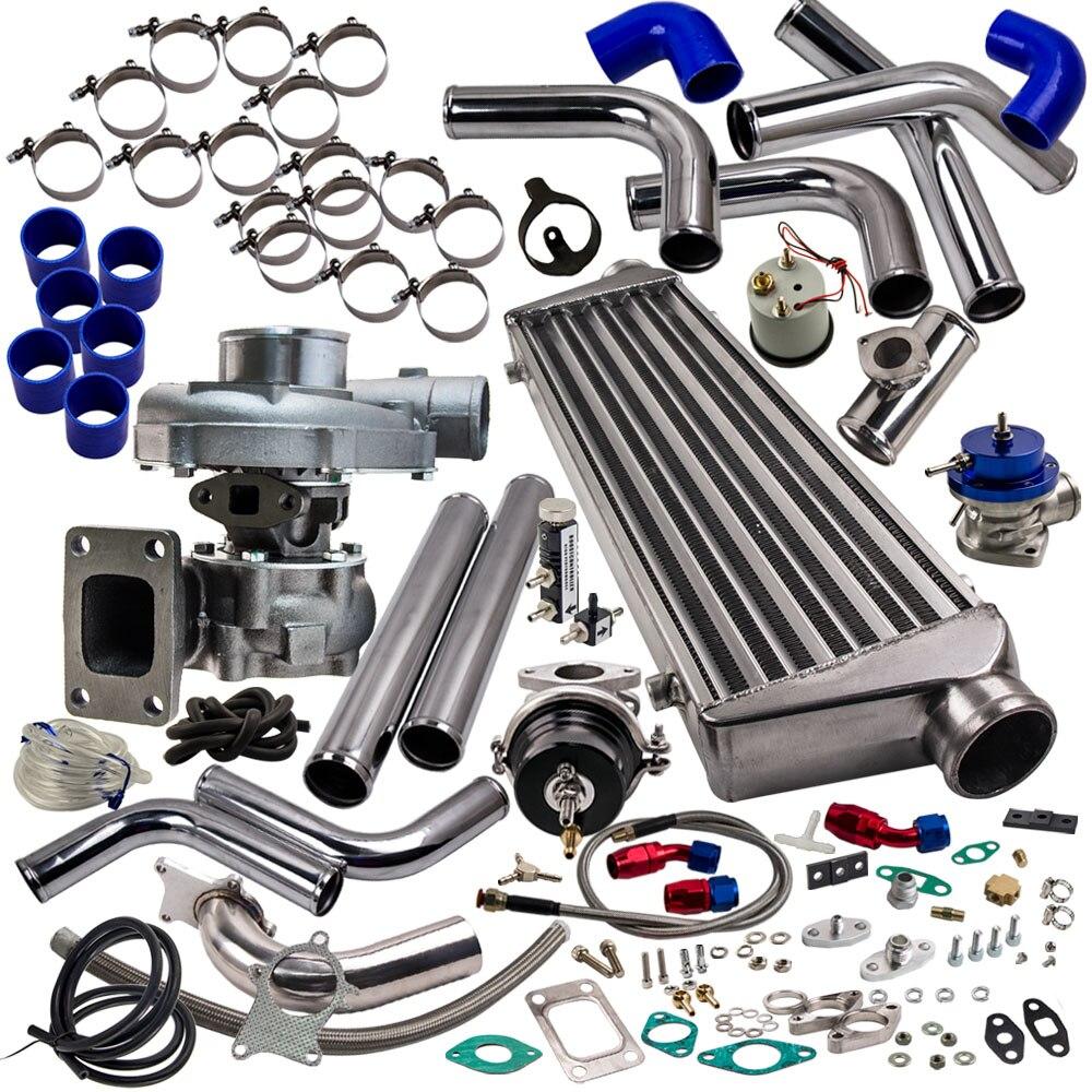 Upgrade Stage 3 Universal T3/T4 T04E Hybrid Turbo Kit Turbo Starter Kit  350HP AR  63 350HP INTERCOOLER + TURBO PIPE KITS