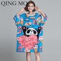 QING MO Cartoon Pattern Dress Women Panda Biscuit Ice Cream T Shirt Dress Summer Short Sleeve Dress Knee Length T Shirt ZLDM103