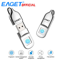 EAGET USB Flash Drive 64GB Pen Drive Fingerprint Encryption Pendrive 32GB USB Flash Disk Memory Stick Storage For Laptop PC