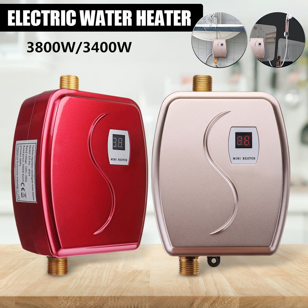 3800W/3400W Electric Water Heater Instant Tankless Water Heater 110V/220V 3.8KW Temperature Display Heating Shower Universal
