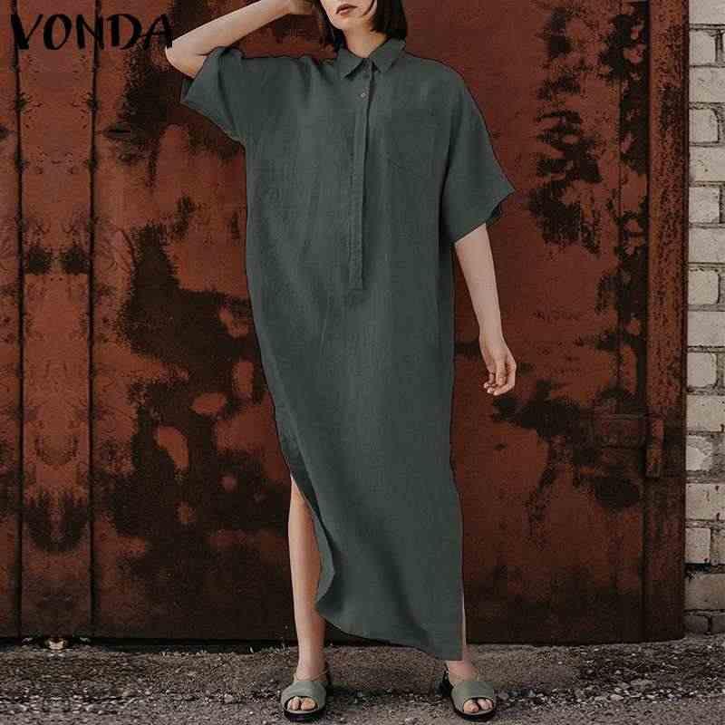 VONDA плюс размер женское платье-рубашка 2019 Летняя Сексуальная кнопка с отворотом шеи Сплит Подол Макси Длинное свободное платье вечерние платья