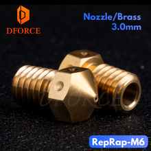 DFORCE Top quality Brass RepRap M6 Nozzle 0.4/3.0MM V6 for 3D printing PLA ABS PETG filament E3D hotend PT100