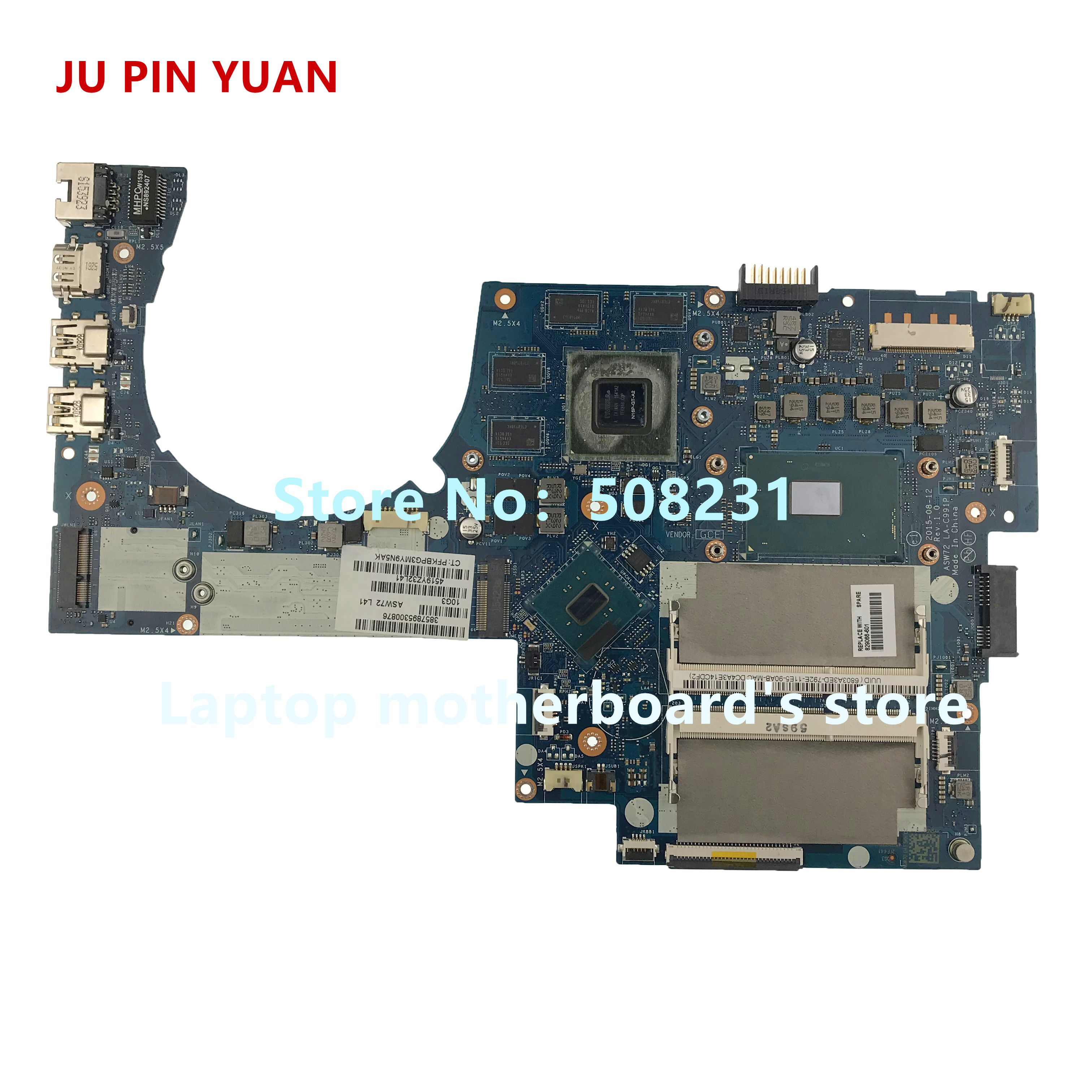 JU PIN YUAN 829066-001 829066-601 LA-C991P  For HP ENVY NOTEBOOK 17T-N Laptop Motherboard With 950M 4GB I7-6700HQ Fully Tested