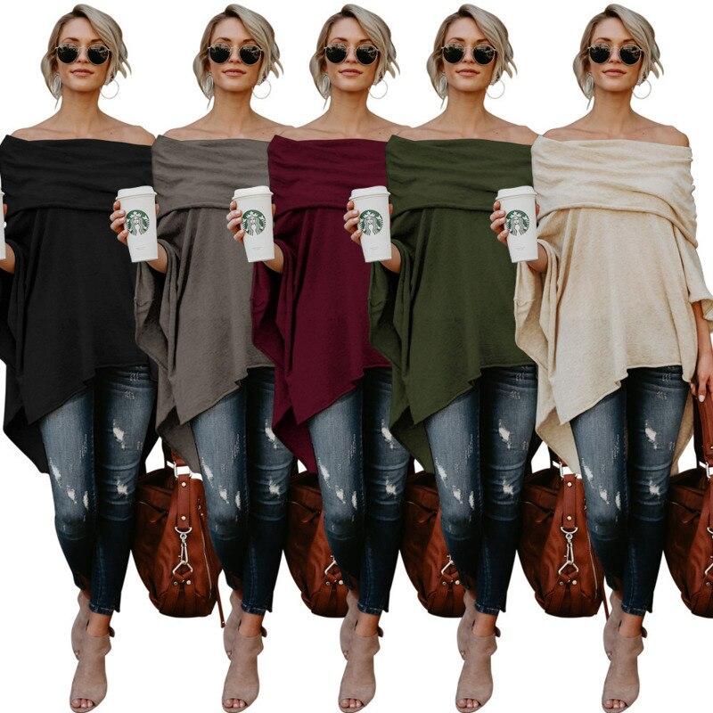 Womens Off-the-shoulder Tops Versatile Large Size Blouse Irregular Hem Off-shoulder Shirt pullover Sweater casual coat 5 Color