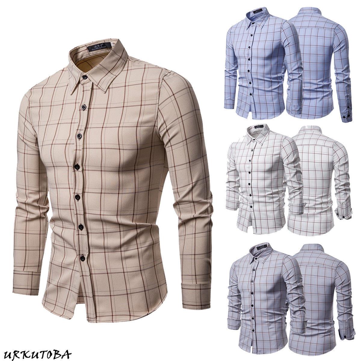 2fc4423a40d72 Luxury Mens Slim Fit Shirt Long Sleeve Cotton Stylish Formal Casual Plaid  Shirts Top