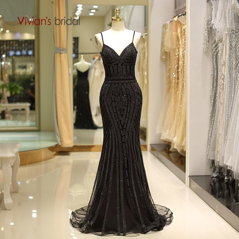 Vivian s Bridal 2018 Spaghetti Strap V-neck Mermaid Evening Dress Luxury  Black Golden Sequin Beading b7d08051ec10