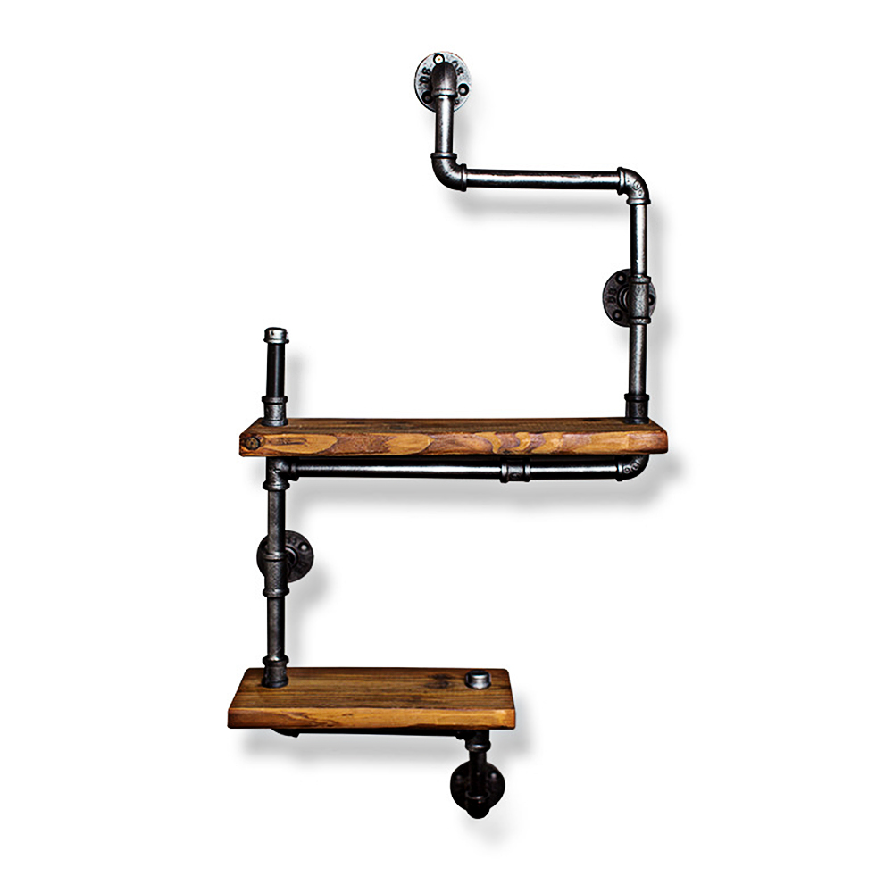 Retro Double Wood Panel Wall Shelf Bookcase Iron Pipe and Wood Panel Material Bookcases Exquisite Living Room Furniture for HomeRetro Double Wood Panel Wall Shelf Bookcase Iron Pipe and Wood Panel Material Bookcases Exquisite Living Room Furniture for Home