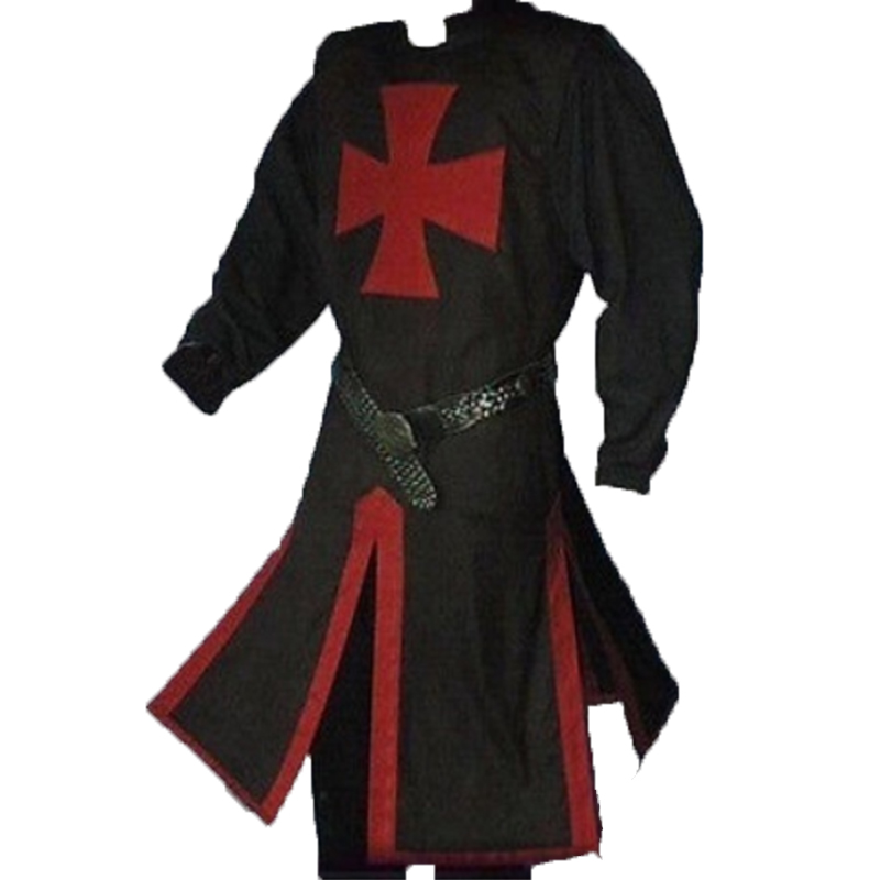 Templar Knight Crusader Surcoat Reenactment Medieval Period Tunic Stage Costumes Long Sleeve Patchwork Male Long Tops Plus Size 1
