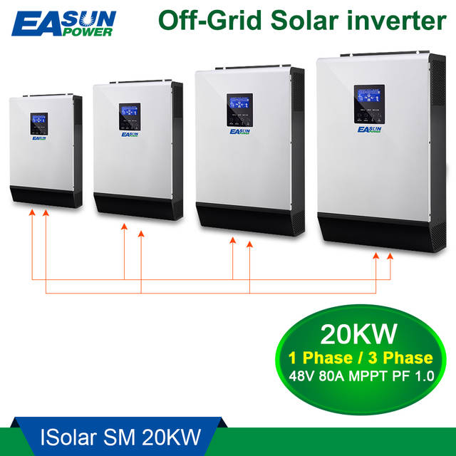 EASUN POWER 20Kw Solar Inverter 80A MPPT Pure Sine Wave Off Grid Inverter  48Vdc 220Vac & 380Vac 60A AC Charger For 1 & 3 Phase