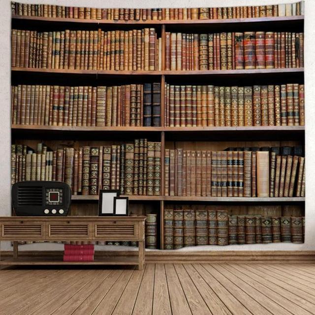 Retro Rak Buku Dinding Permadani Misterius Perpustakaan Permadani Dinding Seni Meja Kain Rumah Tangga Kamar Tidur Living Room Dekorasi