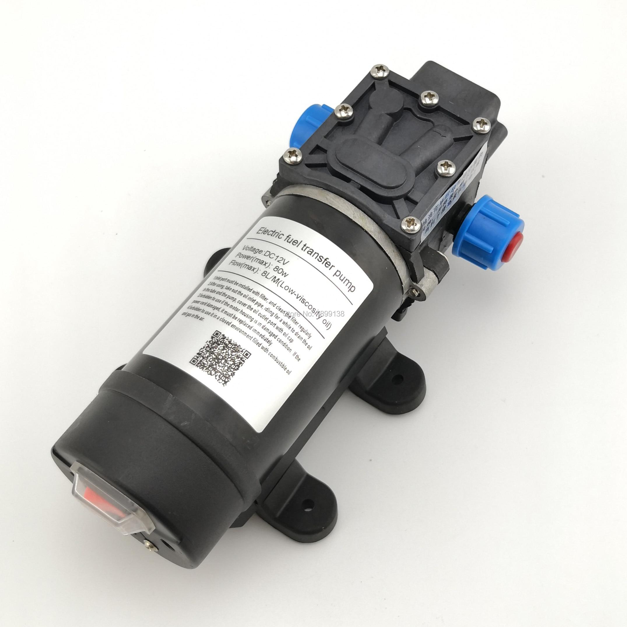 Pompe à mazout portative de diaphragme de 80 W 8LPM mini pompe de transfert de carburant électrique auto-amorçante de cc de 12 volts pour le diesel et l'essence