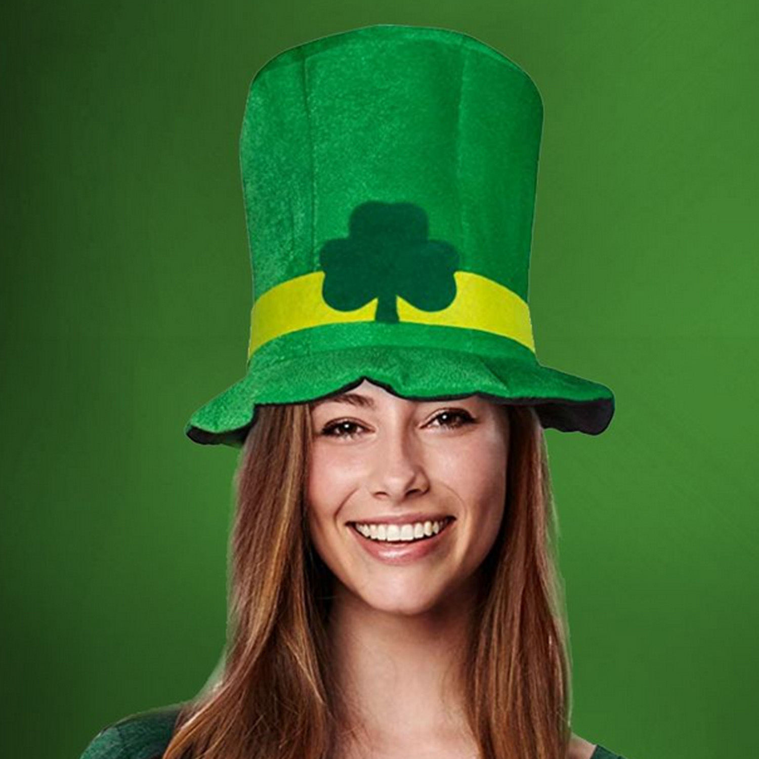 Fashion Irish Saint St Patricks Day Shamrock Lucky Charm Green Velvet Top Hat Party Festival Celebration Cap Costume Accessories